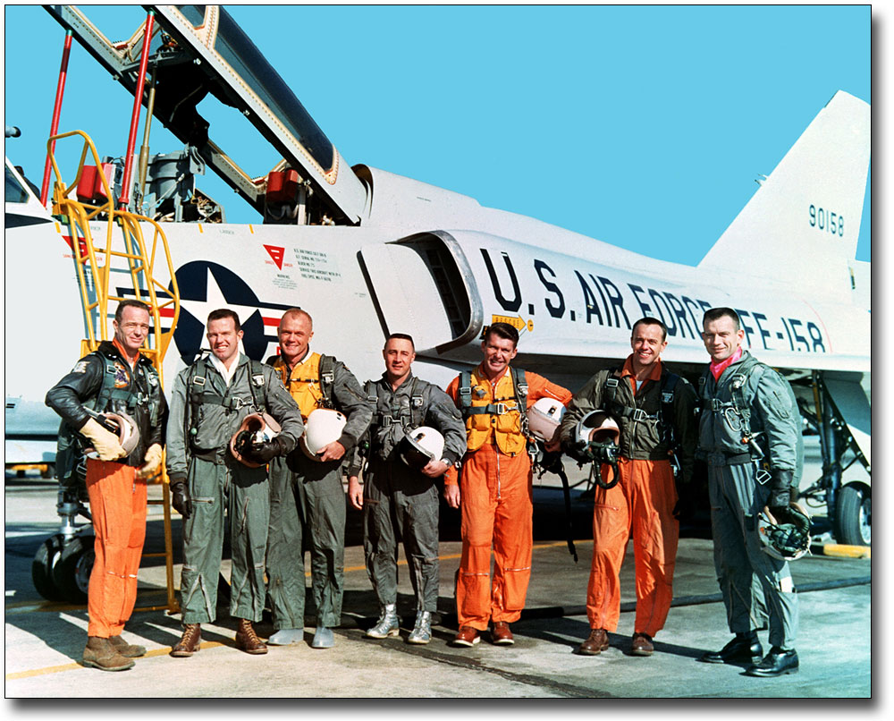 MERCURY SEVEN ASTRONAUTS 8x10 SILVER HALIDE PHOTO PRINT