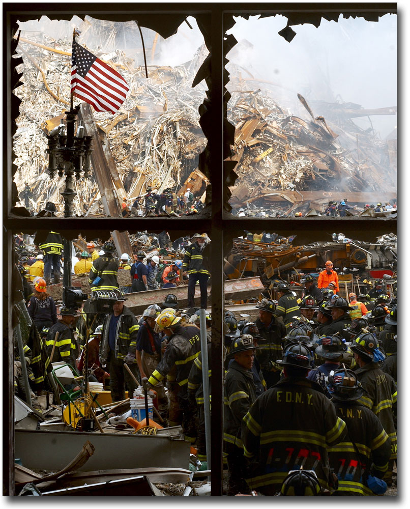 World Trade Center Fire Fighters And Rescue Teams In Rubble Silver Halide Photo