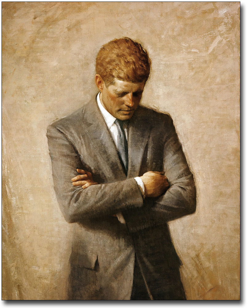 KENNEDY OFFICIAL PORTRAIT PAINTING 8x10 SILVER HALIDE PHOTO PRINT JOHN F