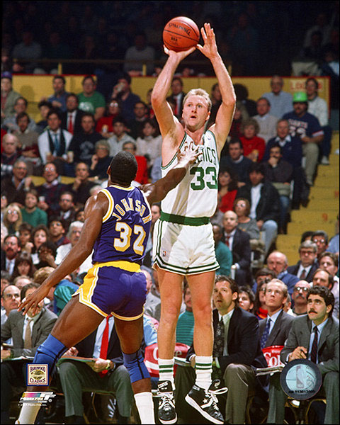 Larry Bird Shooting Over Magic Johnson Basketball Photo Print For Sale