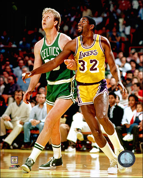 Larry Bird & Magic Johnson Basketball Photo Print For Sale