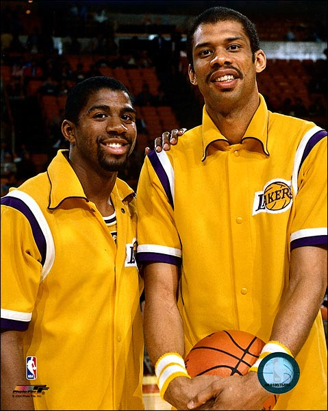 Magic Johnson & Kareem Abdul-Jabbar Lakers Photo Print for Sale