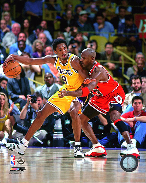 Michael Jordan vs. Kobe Bryant Basketball Photo Print For Sale