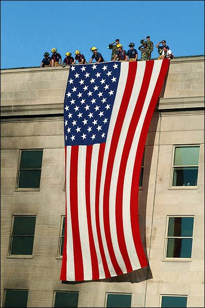 9/11 Firefighter Flag on Pentagon Photo Print for Sale
