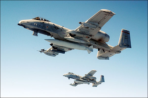 A-10 Thunderbolt Pair in Flight Photo Print for Sale