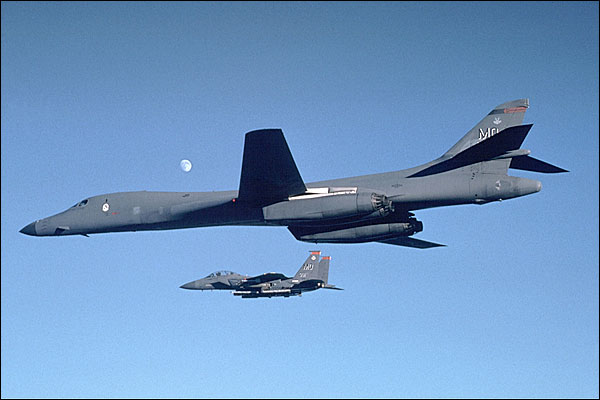 B-1 Bomber w/ F-15 Eagle Photo Print for Sale