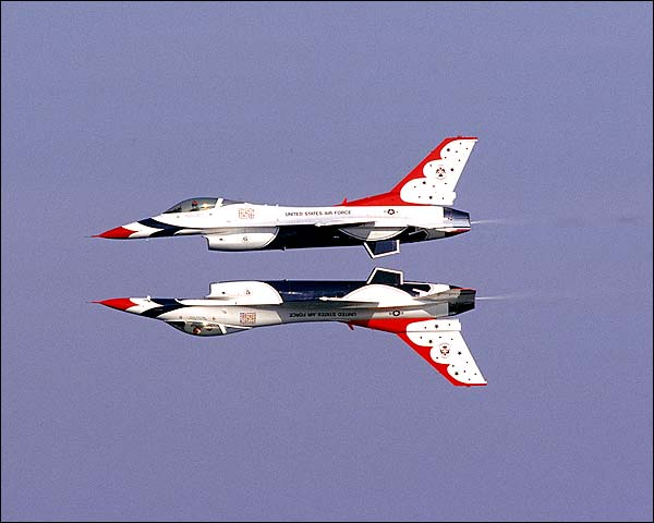 USAF Thunderbirds Mirrored Pass Photo Print for Sale