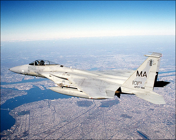 F-15 Eagle over Post 9/11 New York City Photo Print for Sale