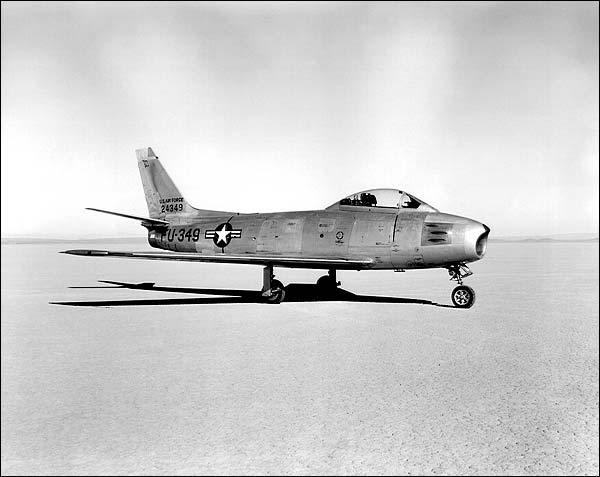 North American F-86 Sabre Jet on Lakebed Photo Print for Sale