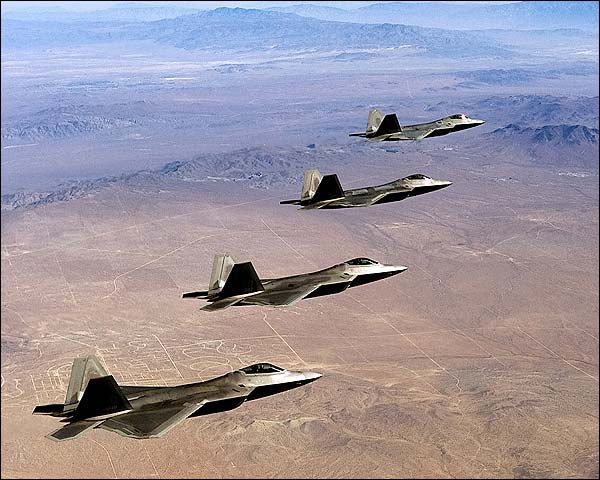 F/A-22 Raptor Formation in Flight F-22 Photo Print for Sale