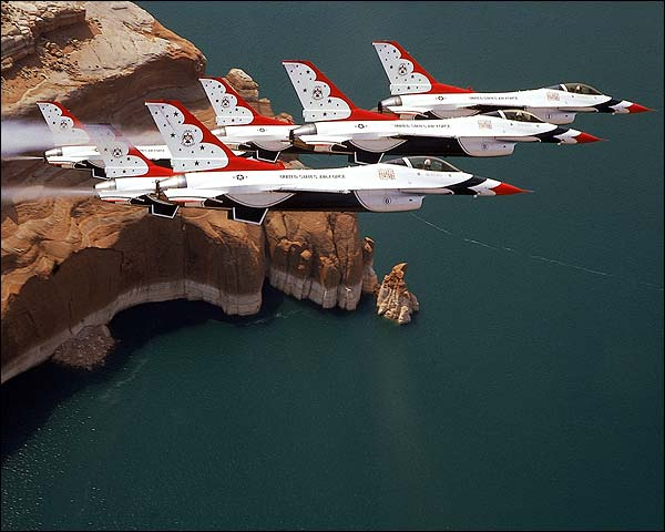 Thunderbirds F-16 Falcons over Lake Powell Photo Print for Sale