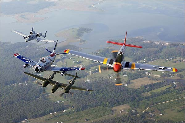 A-10, F-86, P-38 & P-51 Fighters Photo Print for Sale