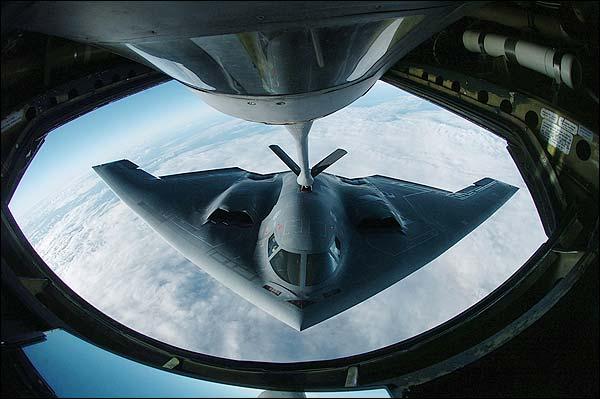 B-2 Spirit Bomber from KC-135 Stratotanker Photo Print for Sale