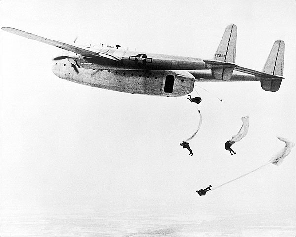Fairchild C-82 Packet Paratroopers Jumping Photo Print for Sale