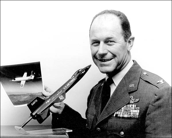 Chuck Yeager w/ Photo of Bell X-1 Aircraft Photo Print for Sale