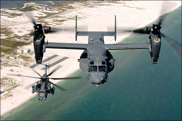 Bell Boeing V-22 Osprey and Sikorsky MH-53 Pave Low Photo Print for Sale