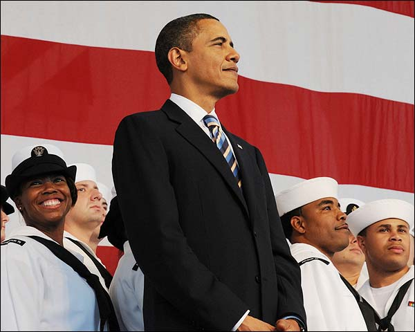 Obama With Troops at Naval Air Station Jacksonville Photo Print for Sale