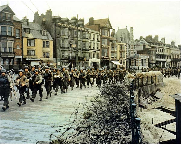 U.S. Army Troops Marching in Amsterdam WWII Photo Print for Sale