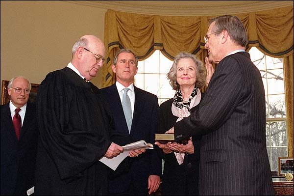 Rumsfeld Sworn In George W. Bush & Cheney Photo Print for Sale