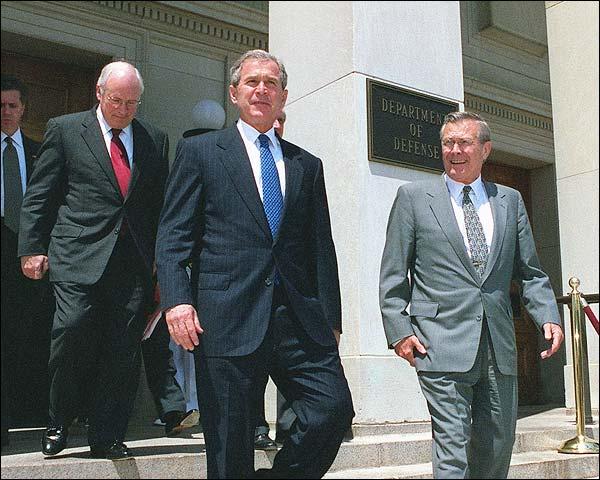 Rumsfeld, President Bush & Cheney Pentagon Photo Print for Sale