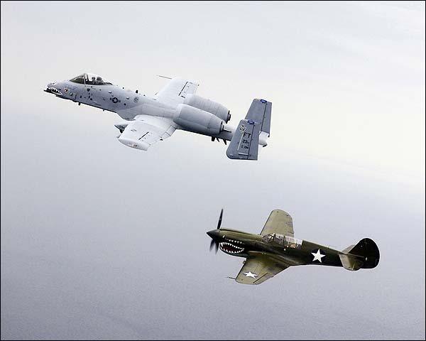 P-40 Tomahawk & A-10 Thunderbolt  Photo Print for Sale