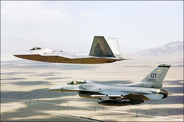 F/A-22 Raptor & F-16 Falcon Fighters Photo Print for Sale