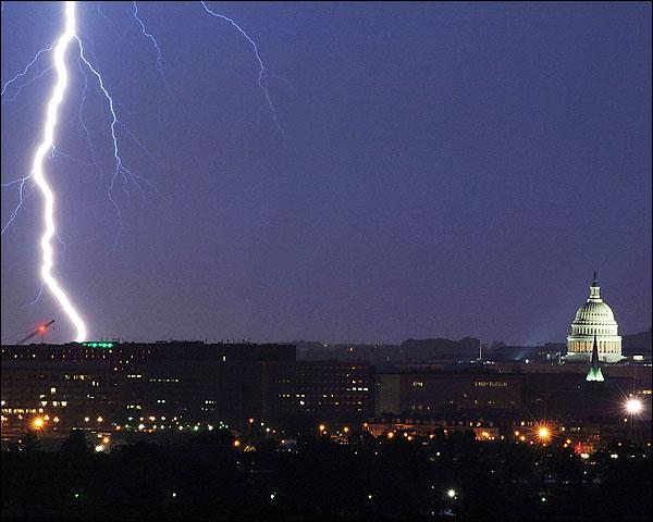 Washington D.C. Capitol Lightning Striking Photo Print for Sale