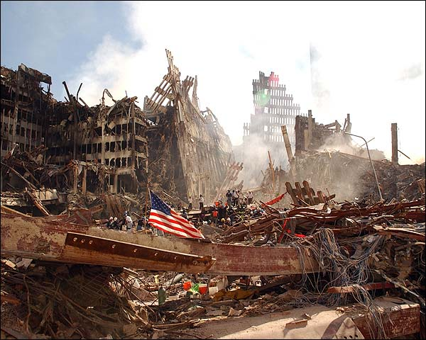 American Flag and Rescue Workers at Ground Zero  Photo Print for Sale