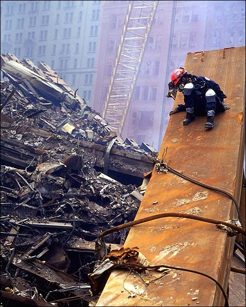 FDNY Worker on Beam at Ground Zero 9/11 Photo Print for Sale