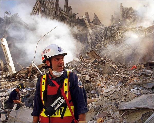 EMS Worker Among Ruins 9/11 Photo Print for Sale