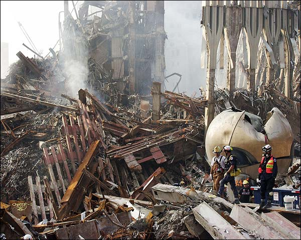 Emergency Workers and The Sphere Ground Zero 9/11 Photo Print for Sale