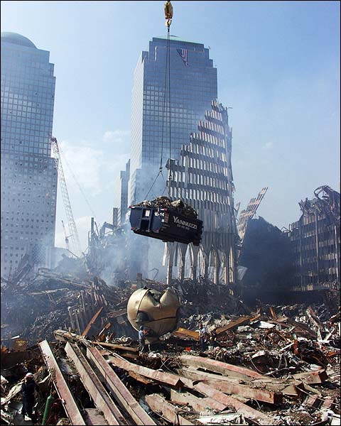 Excavation Crane and The Sphere 9/11 Photo Print for Sale