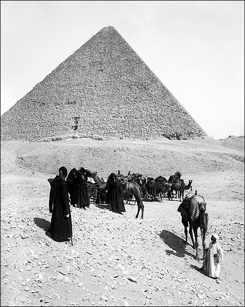 Egyptian Pyramids of Giza & Bedouins, Egypt Photo Print for Sale