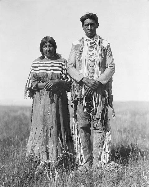 Piegan Indian Couple Edward S. Curtis 1910 Photo Print for Sale