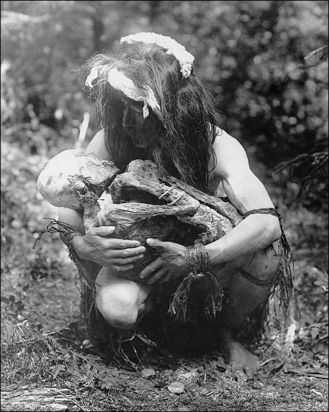 Kwakiutl Man and Mummy Edward S. Curtis Photo Print for Sale