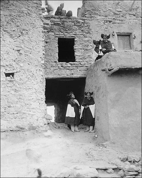 Hopi Indian Pueblo Building Edward S Curtis Photo Print for Sale