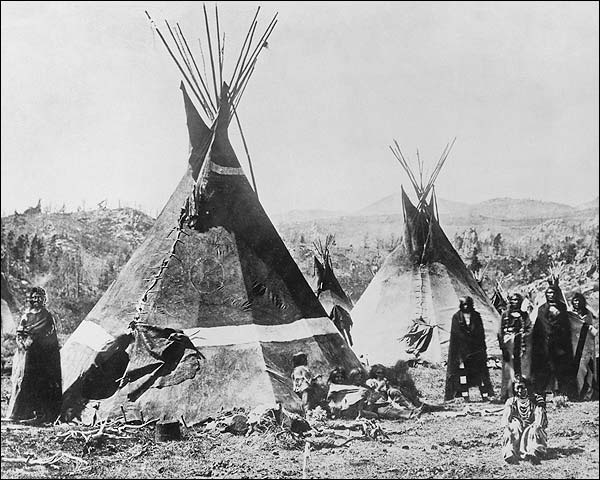 Shoshoni Indian Tribe and Tipis 1880 Photo Print for Sale