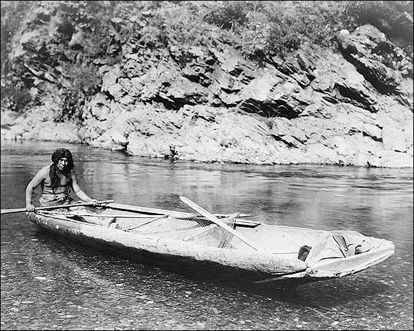 Yurok Canoe Trinity River Edward S. Curtis Photo Print for Sale
