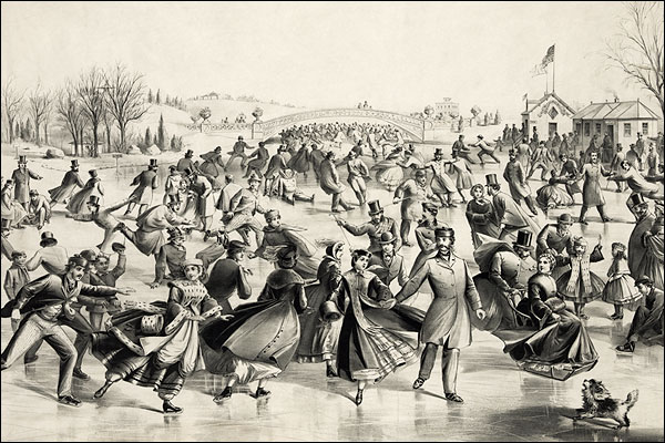 Currier & Ives Central Park Winter 'The Skaters Pond' Photo Print for Sale