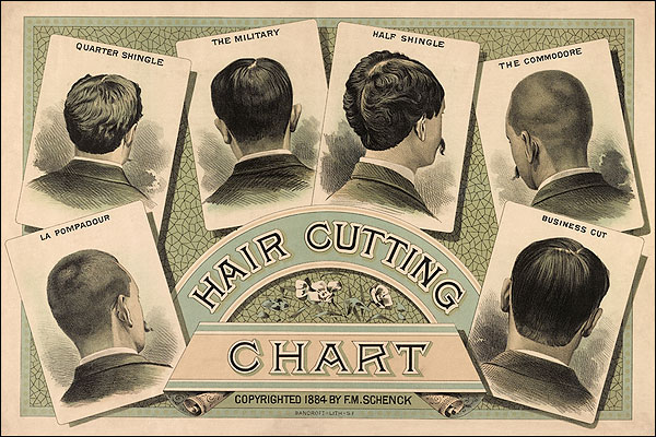 Classic Barber Shop Haircut Chart 1884 Photo Print for Sale