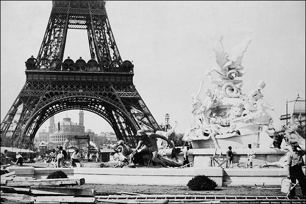 Fountain St. Vidal Eiffel Tower Paris 1887 Photo Print for Sale