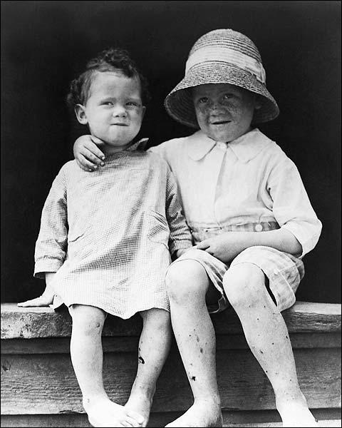 Two Cute Children Vintage Portrait 1909 Photo Print for Sale