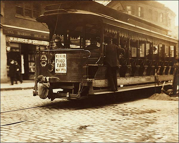 Trolley Car & Hitchhiker Boston Lewis Hine Photo Print for Sale