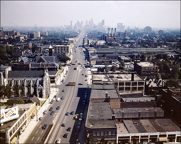 Detroit Skyline & Woodward Avenue 1942 Photo Print for Sale