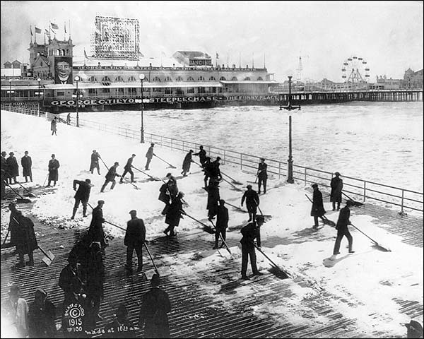 Boardwalk & Beach Snow, Atlantic City 1915 Photo Print for Sale