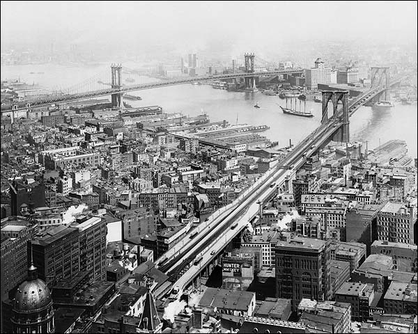 Brooklyn Bridge and Manhattan Bridge New York 1916 Photo Print for Sale