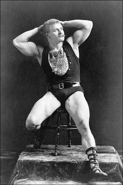 First Bodybuilder Eugen Sandow Flexing 1893 Photo Print for Sale