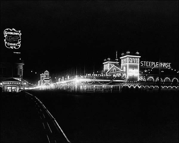 Atlantic City Beach Boardwalk At Night 1911 Photo Print for Sale