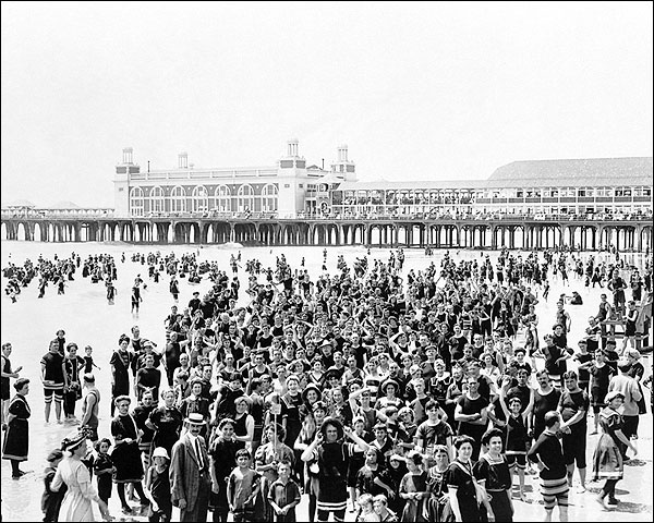Atlantic City Beach Crowd & Pier NJ 1910 Photo Print for Sale