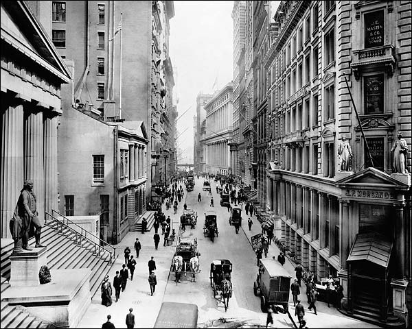 View of Wall Street From Nassau NYC 1911 Photo Print for Sale